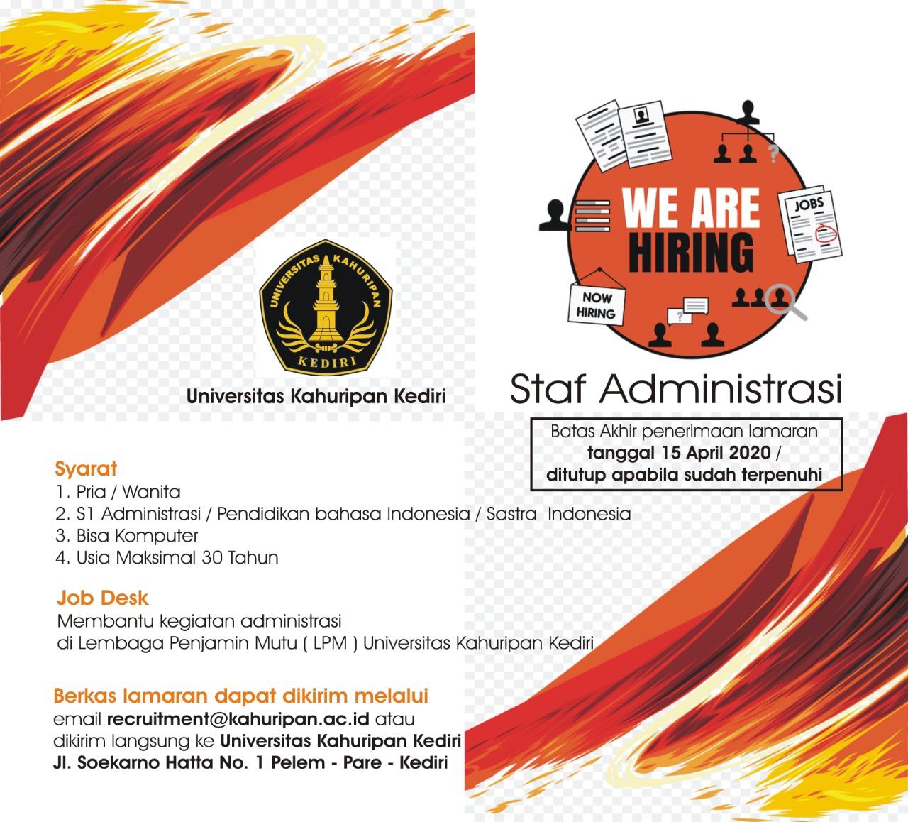 Rekrutmen Staff Administrasi Universitas Kahuripan Kediri 2020 Universitas Kahuripan Kediri